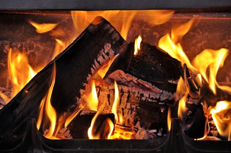 Burning wood in the fireplace Stock Photo - 17092182