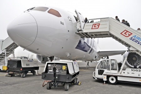 Warsaw, Poland - November 16, 2012 - First Boeing 787 Dreamliner for LOT Polish Airlines parked at Chopin Airport.