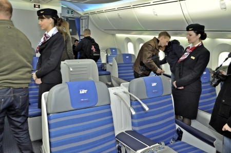 purchased: Warsaw, Poland - November 16, 2012 - The interior of the new Boeing 787 Dreamliner - First Dreamliner purchased by Polish national carrier LOT.