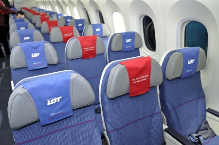 Warsaw, Poland - November 16, 2012 - The interior of the new Boeing 787 Dreamliner - First Dreamliner purchased by Polish national carrier LOT.