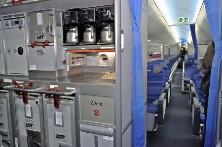 Warsaw, Poland - November 16, 2012 - Catering section in the new Boeing 787 Dreamliner - First Dreamliner purchased by Polish national carrier LOT.