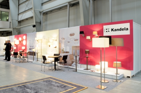 Warsaw, Poland - October 7, 2011 - The exhibition stand of the hotel furniture at the WorldHotel 2011 - 4th International Hotel Facilities Equipment Trade Fair. Editorial