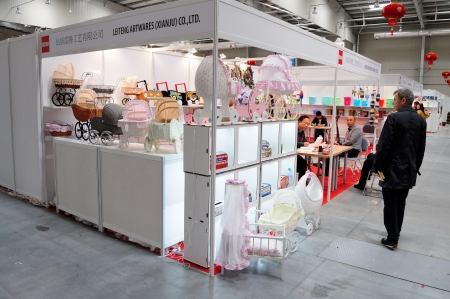 Warsaw, Poland - September 10, 2011 - Exhibition stand of the toys manufacturer. China Expo Poland 2011 - trade event dedicated to the economic and trade cooperation with China.