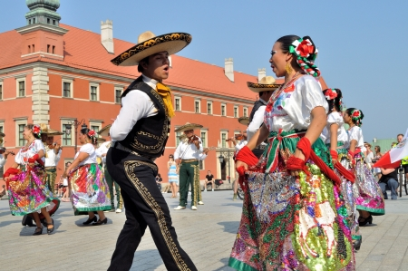 WARSAW - AUGUST 27: Dancers of folklore ensemble 'VALLARTA AZTECA' from Mexico - street parade during the International Folklore Festival 'WARSFOLK' , on August 27, 2011 in Warsaw, Poland.