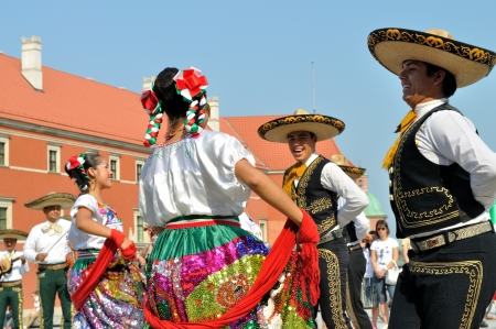 WARSAW - AUGUST 27: Dancers of folklore ensemble VALLARTA AZTECA from Mexico - street parade during the International Folklore Festival WARSFOLK , on August 27, 2011 in Warsaw, Poland. Editorial
