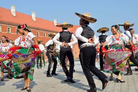 WARSAW - AUGUST 27: Dancers of folklore ensemble