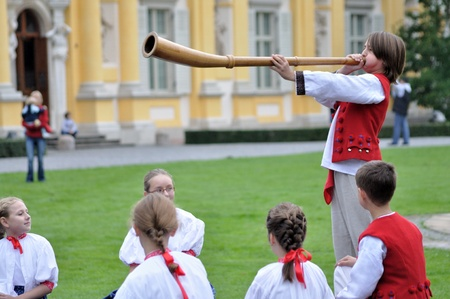 WARSAW - SEPTEMBER 11: Playing the alphorn - show of the Silesian Gorals folklore, by the ensemble Kuznia Artystyczna, during of the Wilanow Days event on September 11, 2010 in Warsaw, Poland. Stock Photo - 20963943