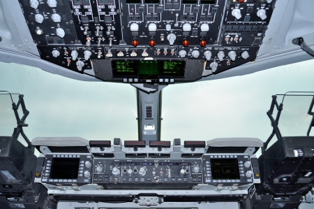 avionics: Cockpit view inside the military transport aircraft