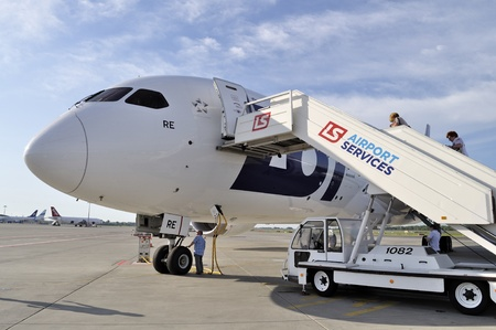 WARSAW - AUGUST 4  New Boeing 787 Dreamliner of the LOT Polish Airlines - prepare to departure at Chopin Airport on August 4, 2013 in Warsaw, Poland  Editorial