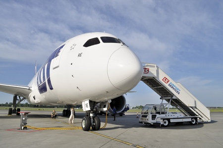 WARSAW - AUGUST 4  New Boeing 787 Dreamliner of the LOT Polish Airlines - prepare to departure at Chopin Airport on August 4, 2013 in Warsaw, Poland