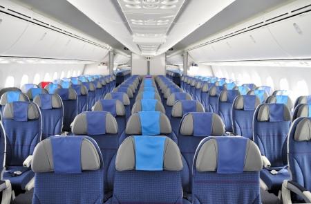 航空機キャビン内の座席行 写真素材