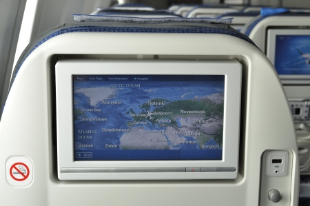 WARSAW - AUGUST 4  LCD monitor on Passenger Seat in the cabin Boeing 787 Dreamliner of the LOT Polish Airlines on August 4, 2013 in Warsaw, Poland