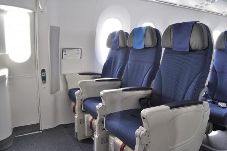 商業飛行機のインテリア 写真素材