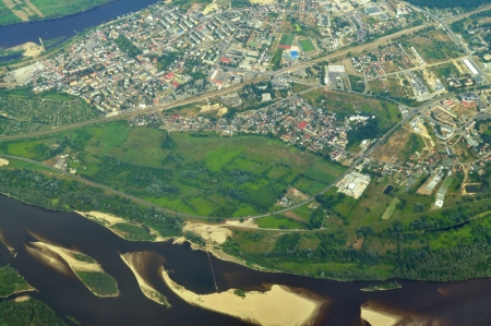 Aerial view - Vistula River near Warsaw, Poland photo
