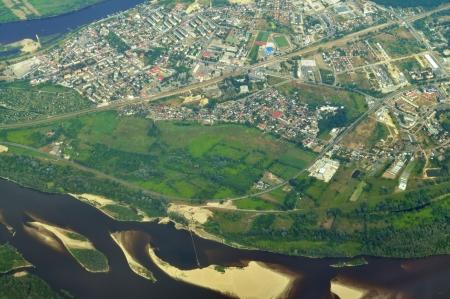 homesteads: Aerial view - Vistula River near Warsaw, Poland