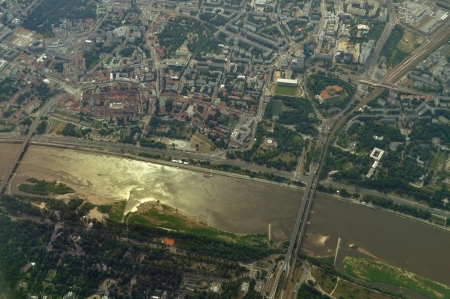 homesteads: Aerial view - Vistula River in Warsaw, Poland Stock Photo