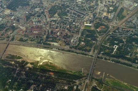 homesteads: Aerial view - Vistula River in Warsaw, Poland Stock Photo