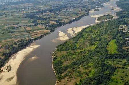 Aerial view - Vistula River near Warsaw, Poland