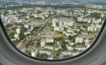 Aerial view - Wilanow district in Warsaw, Poland  photo
