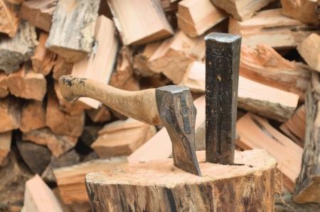 Axe en wig voor het splitsen van hout