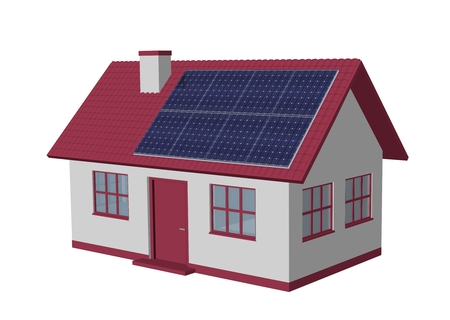 harnessing: 3d render simple house model with Solar Panels Stock Photo
