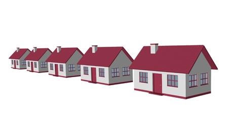 3d render single-family detached housing models