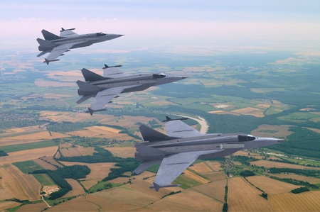 illustration 3d models of jet jetfighters flying above the rural landscape Stock Photo