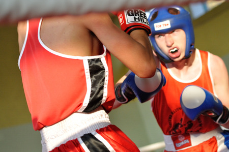 Warsaw, Poland - October 01, 2011: Young boxers fighting during the XI-th junior boxing tournament - Cup of Mayor of the municipality Raszyn. Editorial