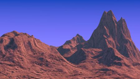 non   urban scene: 3D rendered mountain landscape Stock Photo