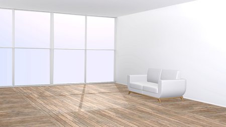 platen: White sofa on wooden floor in the living room with a big window 3D rendered interior with copy space.