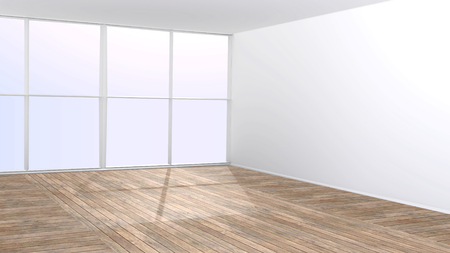 platen: Empty room with big window and wooden floor 3D rendered interior with copy space. Stock Photo