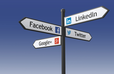 Warsaw, Poland - May 17, 2015: 3d rendered illustration of the signpost crossroad Indicating the directions to popular social networking sites - Facebook, Google, Twitter, LinkedIn.