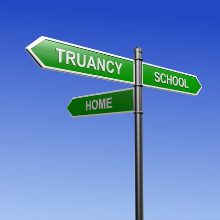 indolence: Signpost with arrows pointing three directions - towards school, truancy and home. Stock Photo