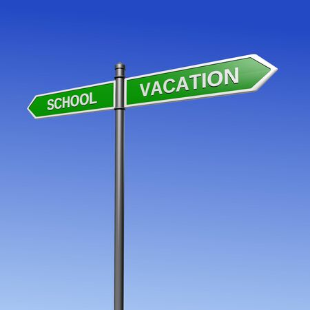 schoolwork: Signpost pointing the way - from school for the vacation.