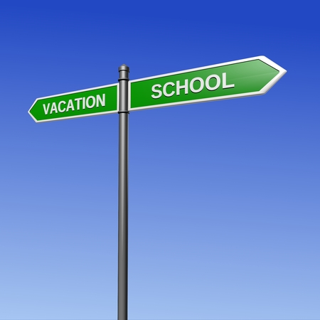 return trip: Signpost pointing the way - from vacation to school. Stock Photo