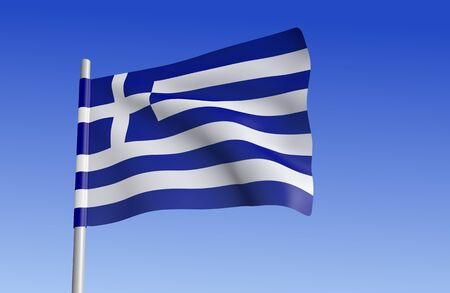 hellenic: Greek flag on a background of blue sky.