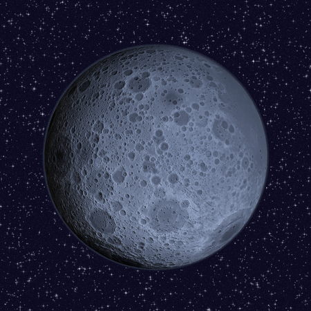 blue stars: Blue Moon on starry sky background - 3D illustration of the lunar far side hemisphere of the Moon That always faces away from Earth includes elements furnished by NASA.