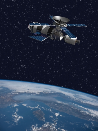 orbiting: A modified version of the Skylab - satellite laboratory for scientific experiments, orbiting over Italy - 3D Scene. Elements of this illustration furnished by NASA.
