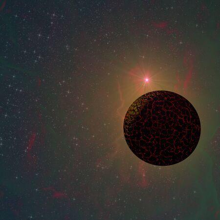 interstellar: Cracked orbiting planets in interstellar space - 3d rendered illustration. Stock Photo