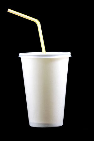 White papercup with tube on black background