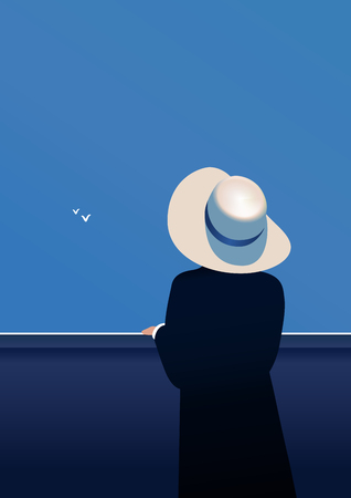 Blue sky background with two flying seagulls. A woman in a hat, standing back view. Vector illustration