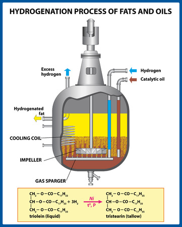 Autoclave. Hydrogenation process of fats and oils. Vector illustration