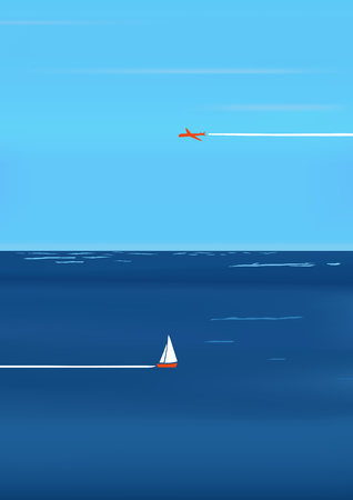 Minimalistic sea or ocean background traveling with the sky. Vector illustration