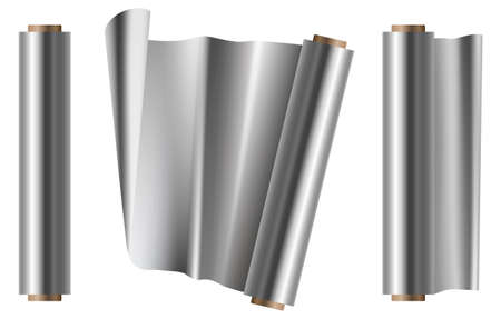 Roll of alluminium foil vector design illustration isolated on white background. Opened and closed view.
