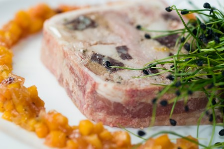 venison: A Wild Mushroom And Game Terrine With Chutney Stock Photo