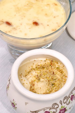 A Pot Of Pistachio Kulfi Ice Cream, An indian ices cream called kulfi and typically made using Pistachio and cardamon