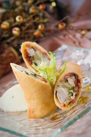 Turkey and sprout spring roll