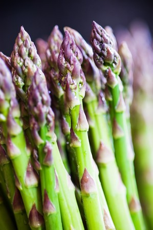 Detail and close up of a bunch of Asparagus standing