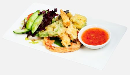 Selection of vegetable tempura with sweet chili sauce
