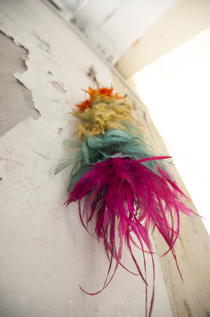 A colorful feather duster hanging on a weathered and aged wall